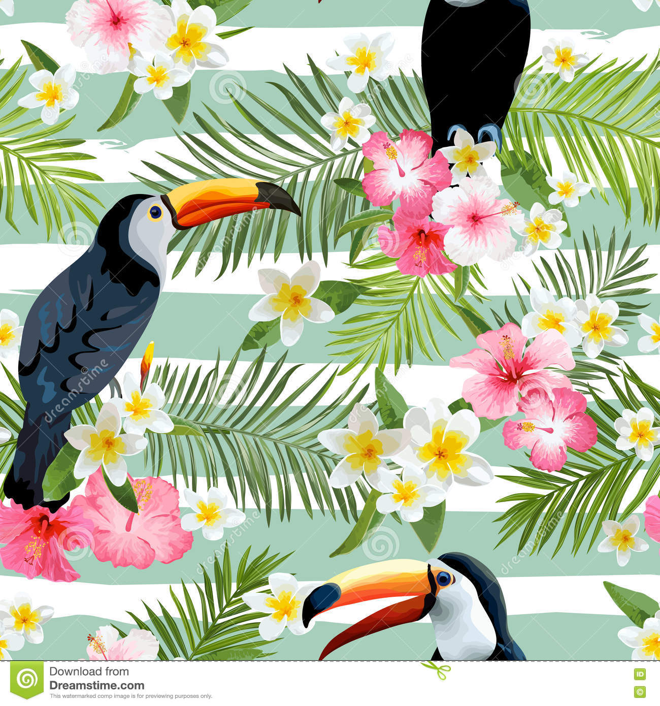 Vintage Style Tropical Bird And Flowers Background: Toucan Bird Background. Retro Pattern. Tropical Background