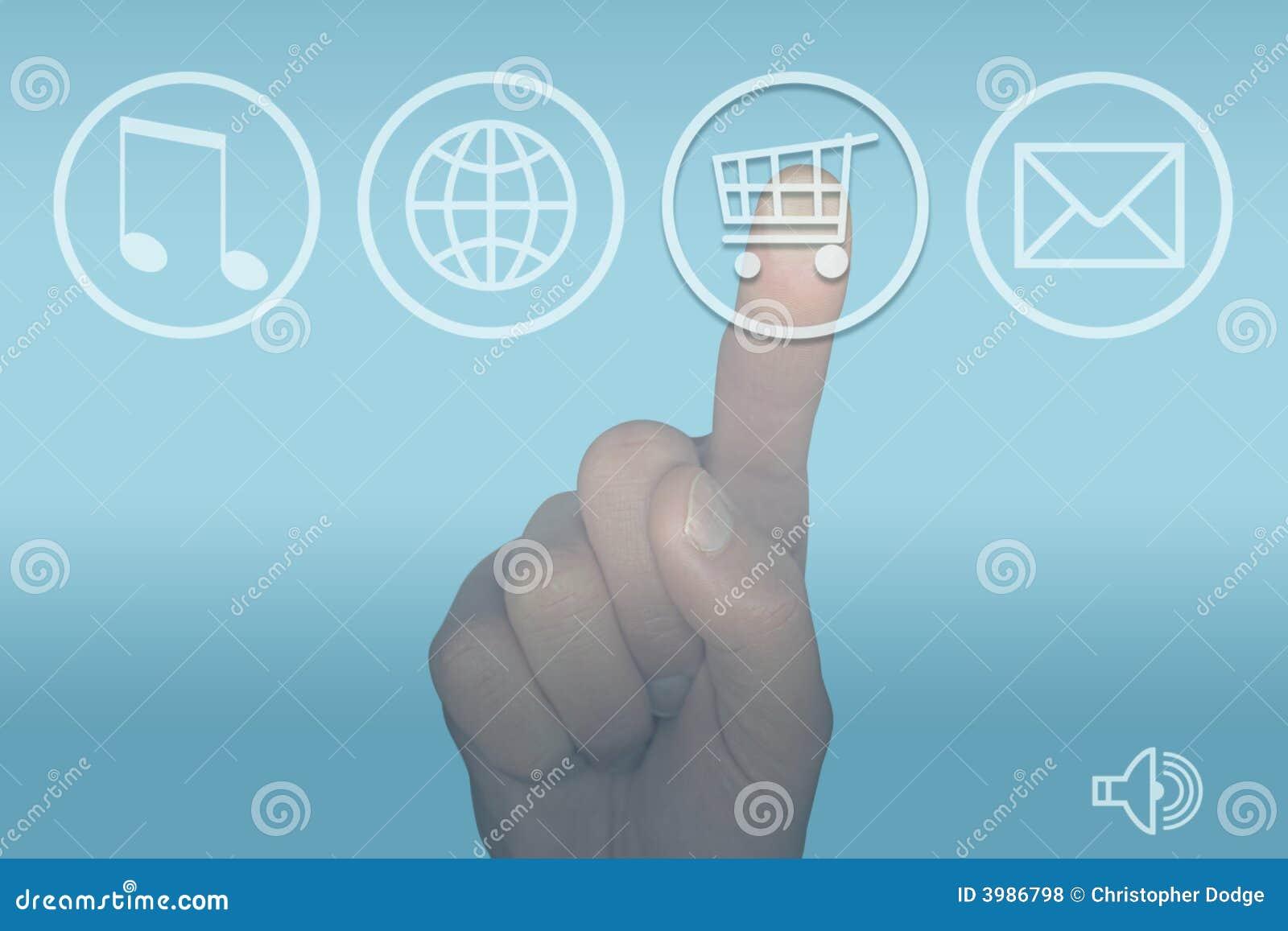 Touch för shopping för skärm för meny för datorhandsymbol