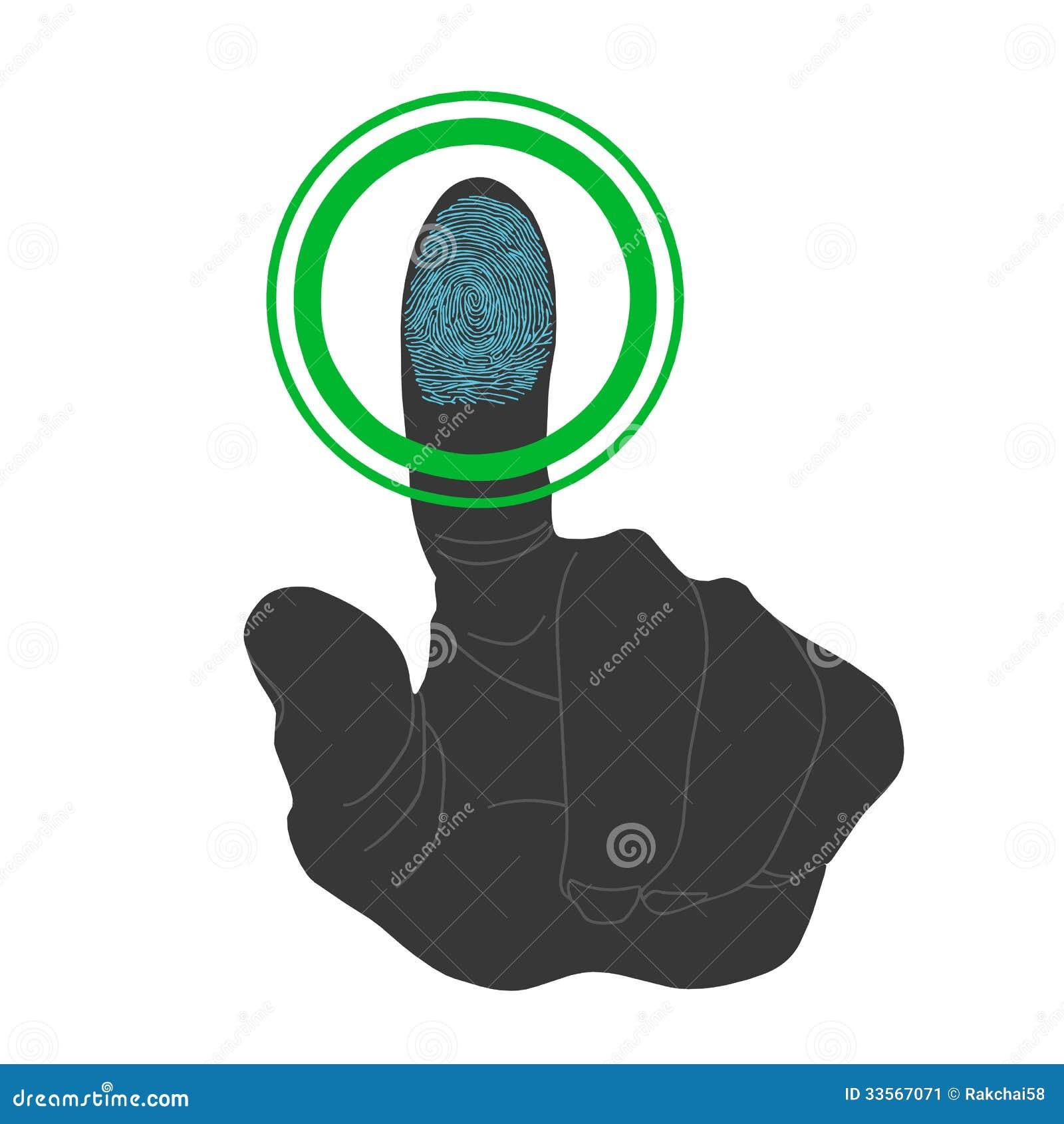 Touch Id Fingerprint Scan Access Symbol Stock Vector