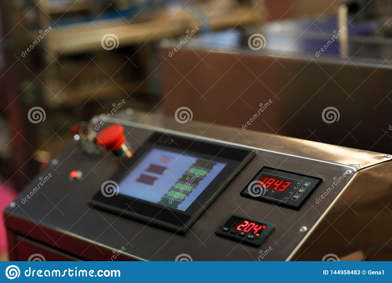 Touch screen control panel of industrial equipment