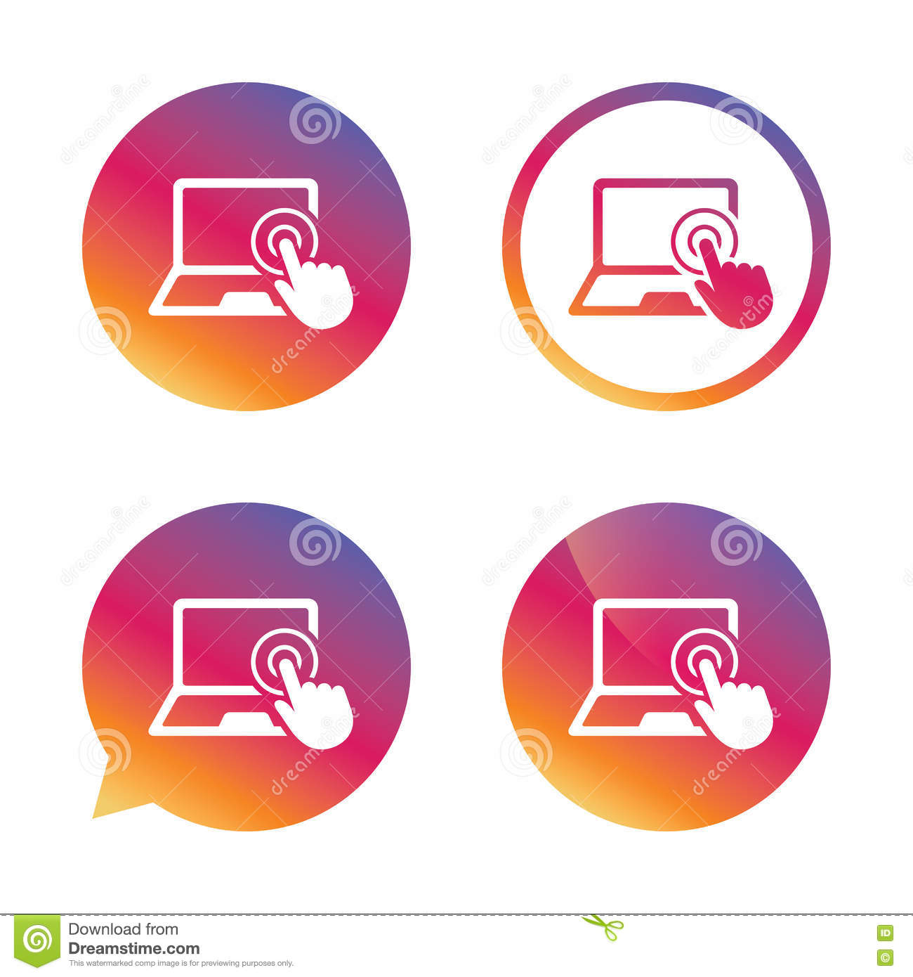 Touch Screen Laptop Sign  Hand Pointer Symbol  Stock Vector