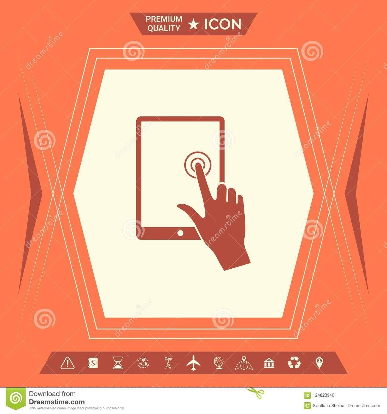 Touch Screen Tablet With Click Hand Stock Vector Illustration Of