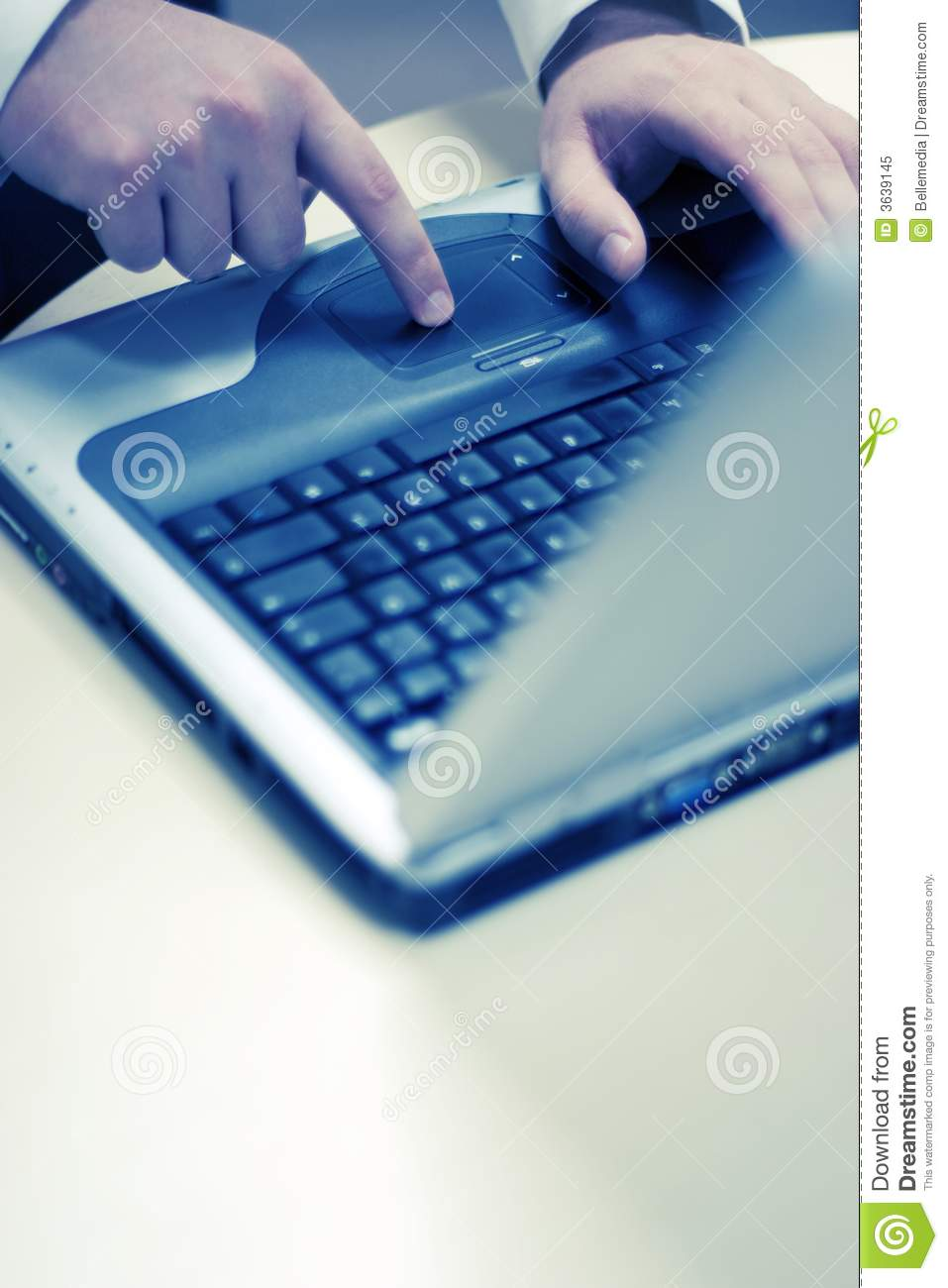 Touching laptop
