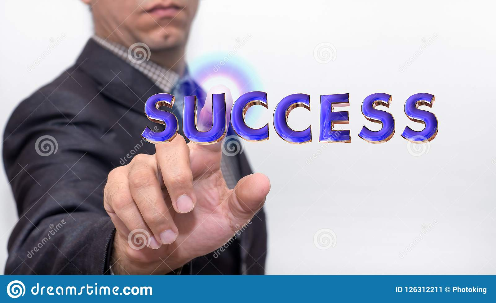 Touching success word on air