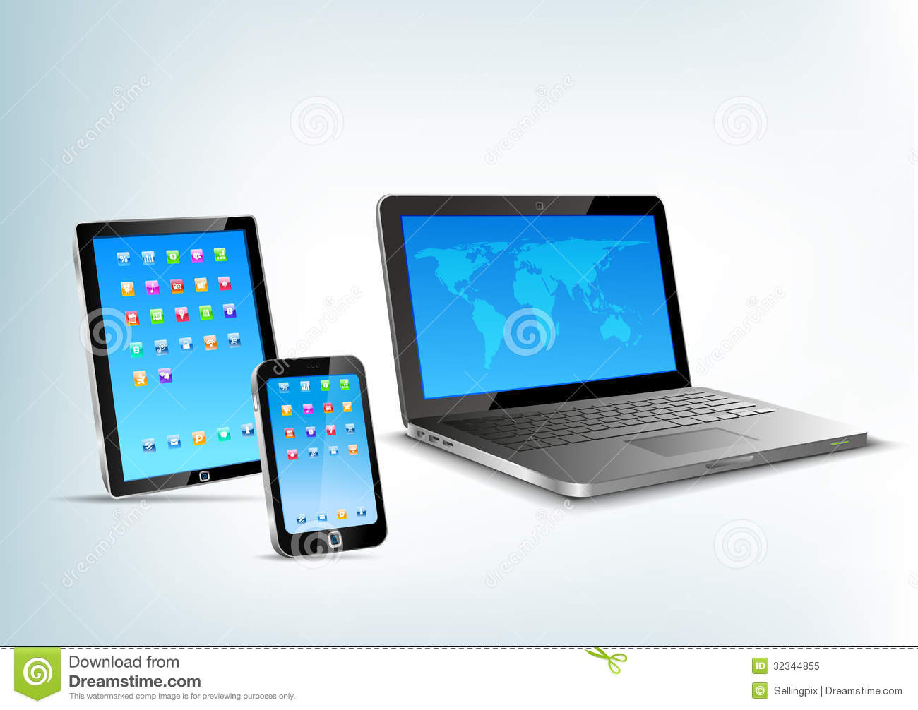 Touchpad Notebook Mobile Phone Vector Perspectiv Royalty