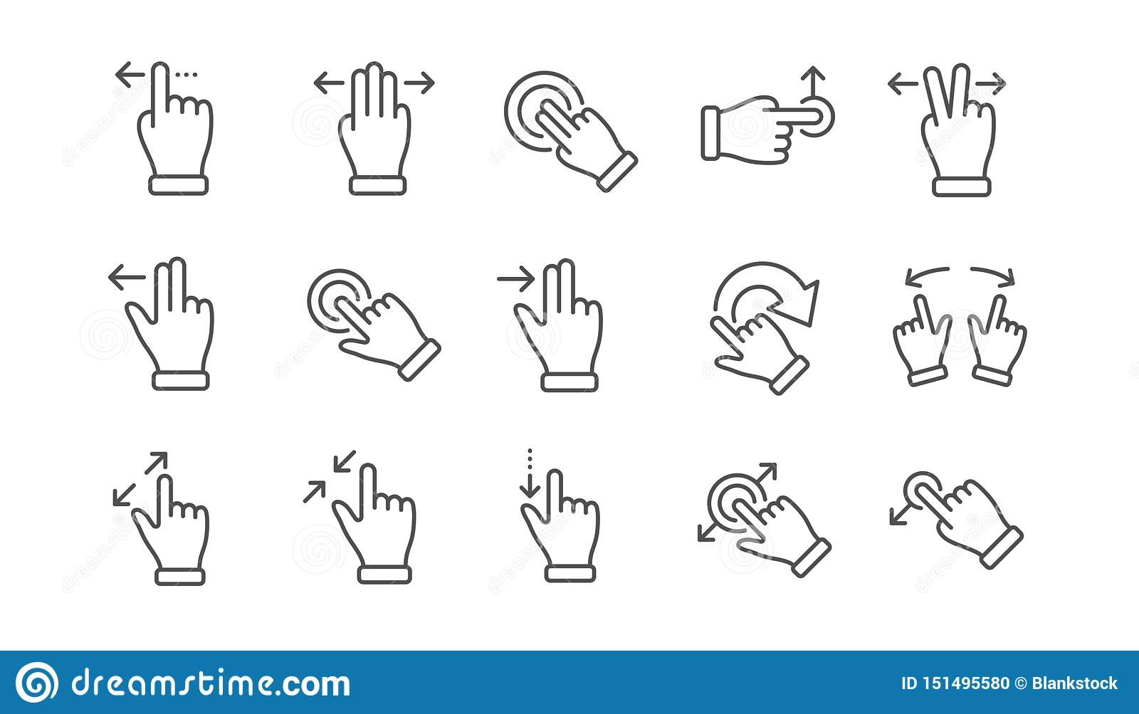 Touchscreen Gesture Line Icons  Hand Swipe, Slide Gesture