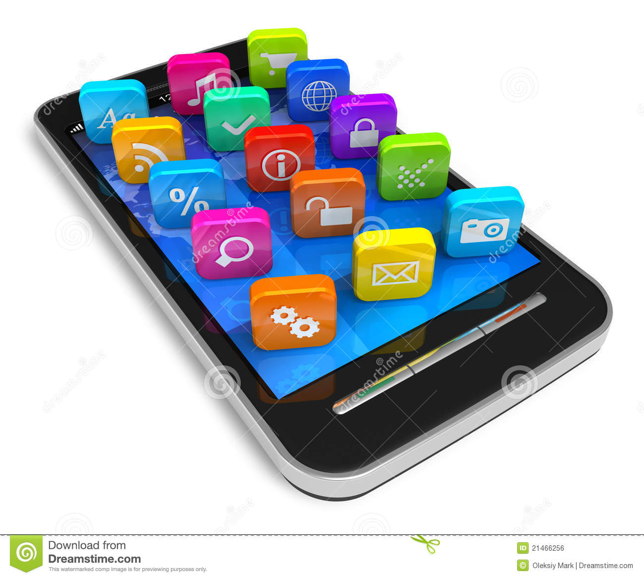Touchscreen Smartphone With Application Icons Stock