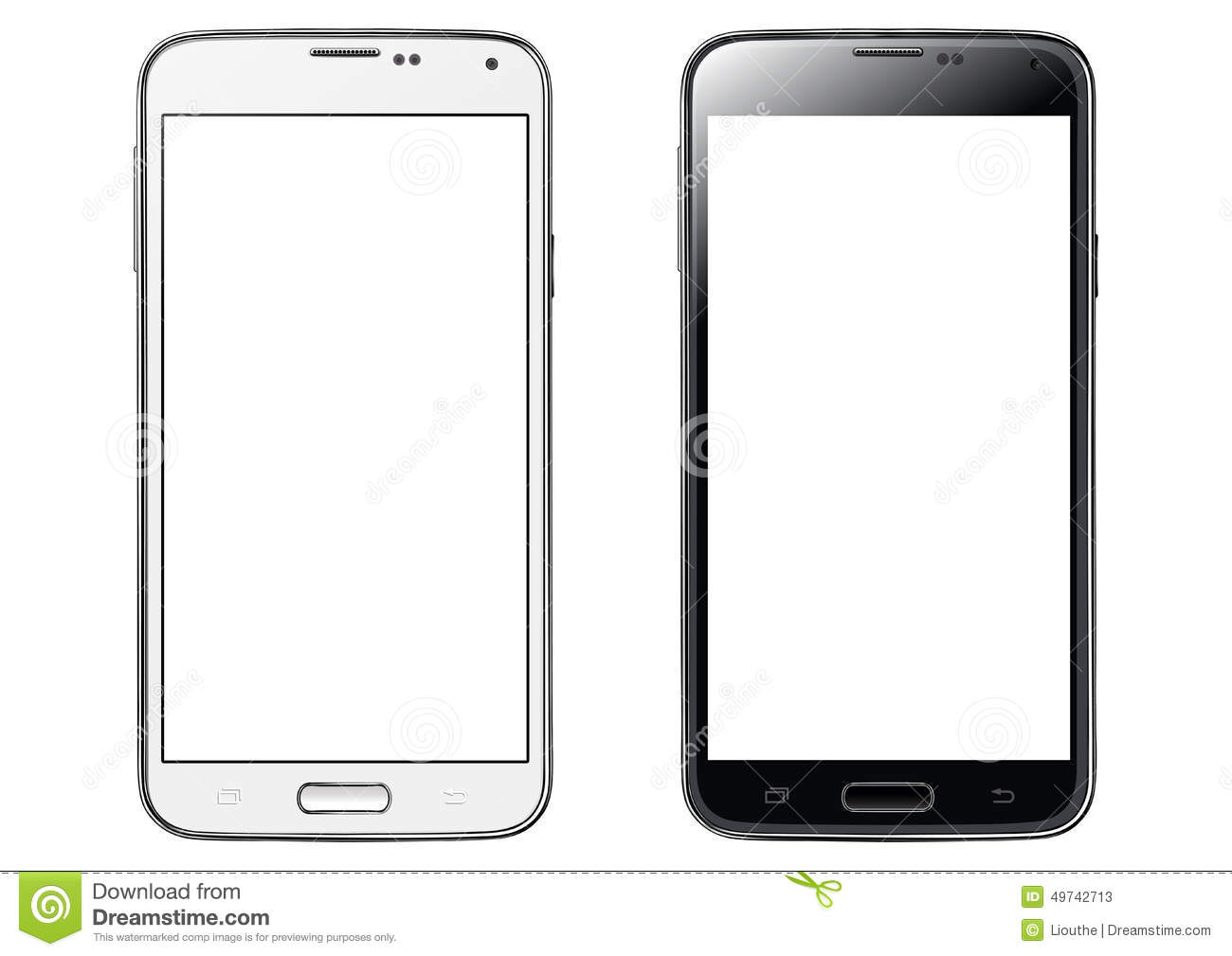 smartphone white screen isolated stock vector   image
