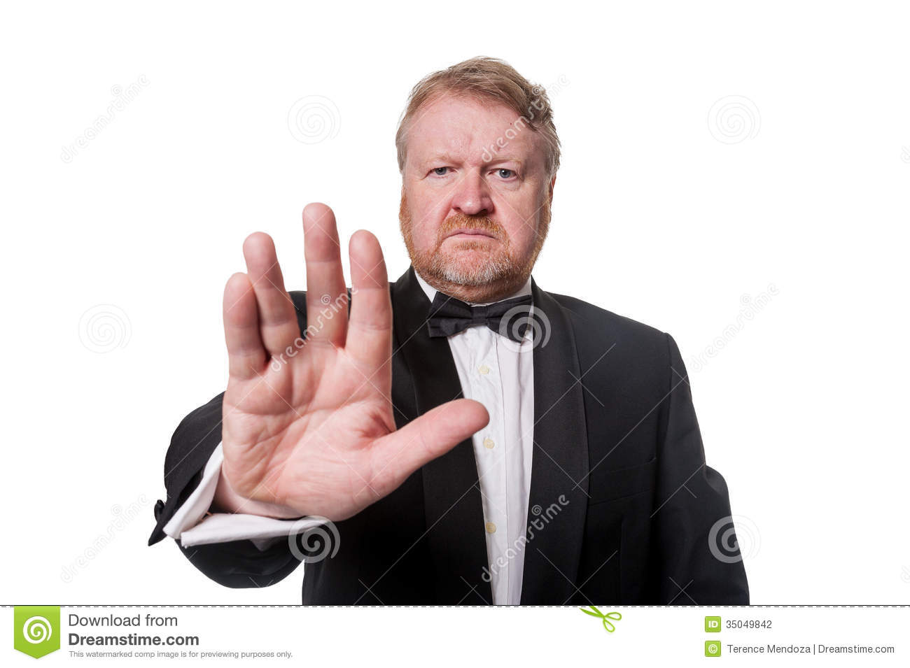 Tough Bouncer Barring The Way On White Stock Photo