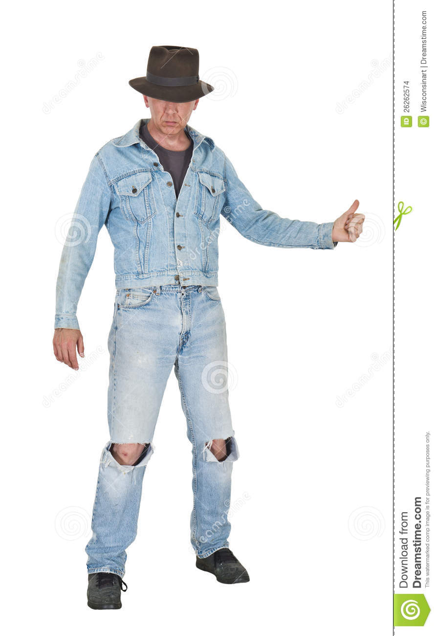 Tough Cool Guy Man Hitch Hike Blue Jeans Isolated Stock Images