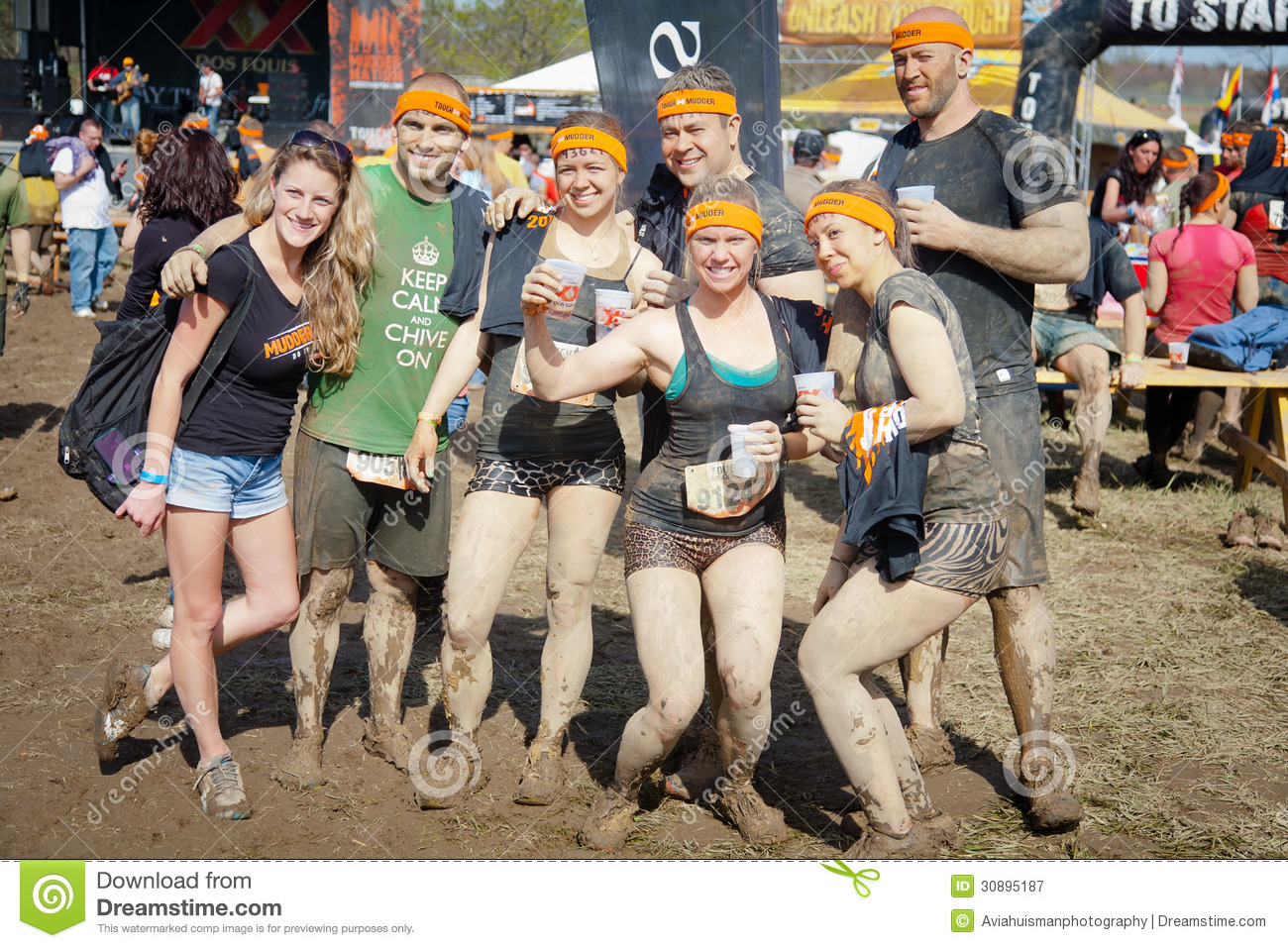 3de7d63bf Racers proudly wearing their headbands and drinking XX beer after the Tough  Mudder competition in Mansfield Ohio on April 27, 2013.