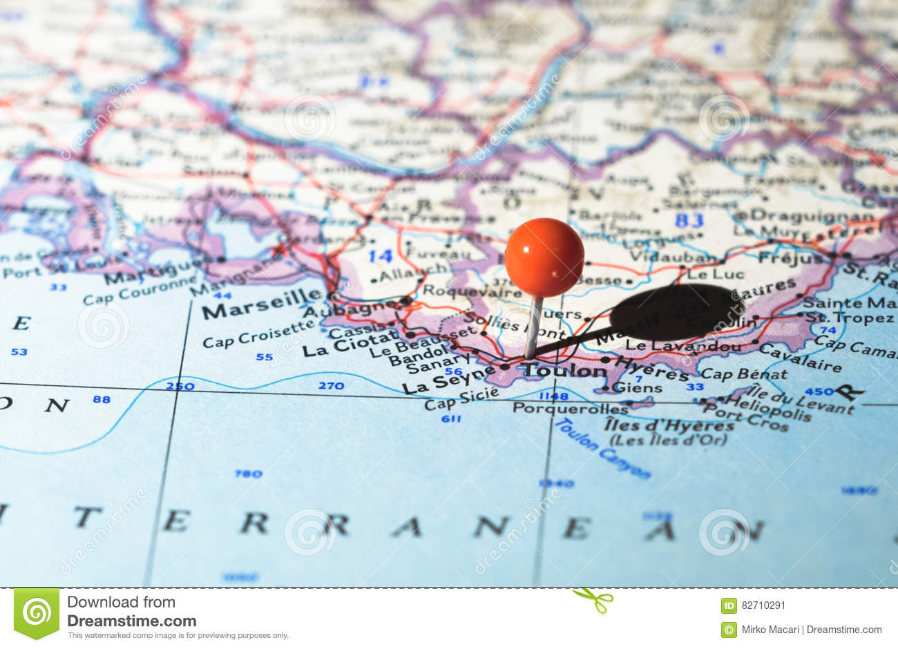 Toulon Location Indicated On The Route Map Stock Image ...