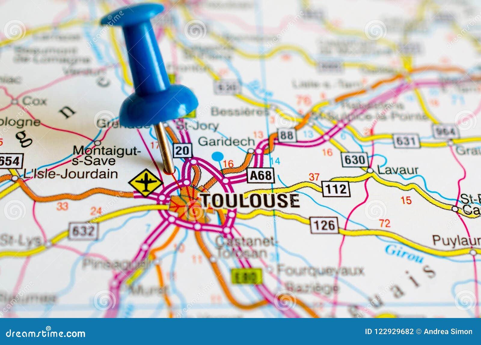 Toulouse Karte.Toulouse Auf Karte Stockfoto Bild Von Stoß Karten 122929682
