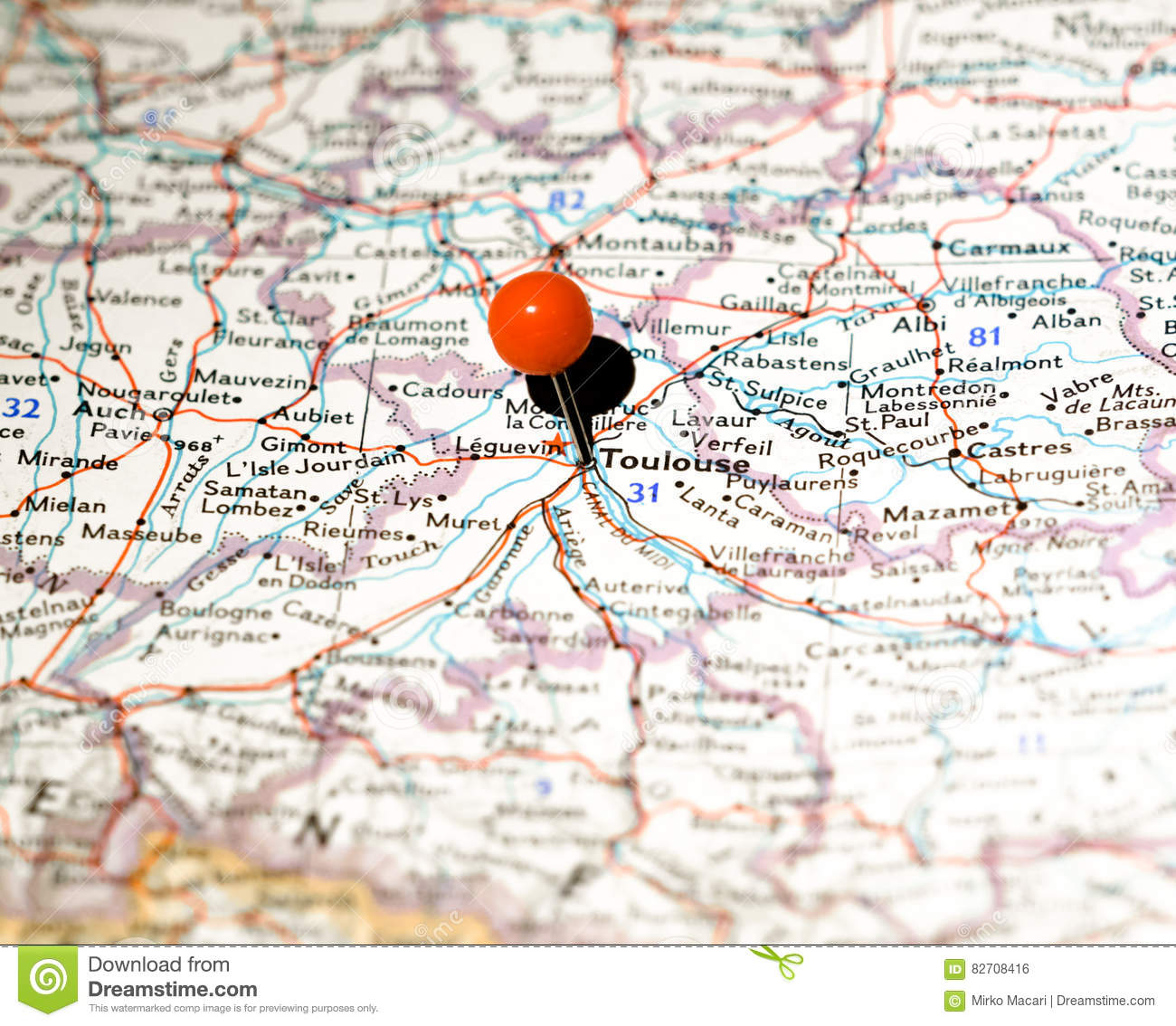 Map Of France Toulouse.Toulouse Location Pinned On The Route Map Stock Photo Image Of