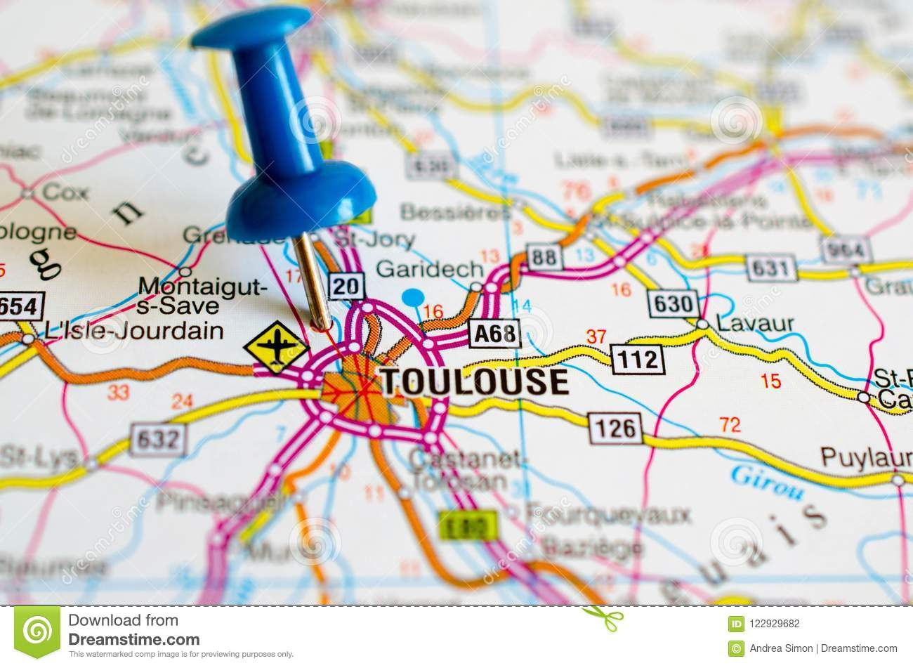 Toulouse On Map Stock Photo Image Of Tolosa Travel 122929682
