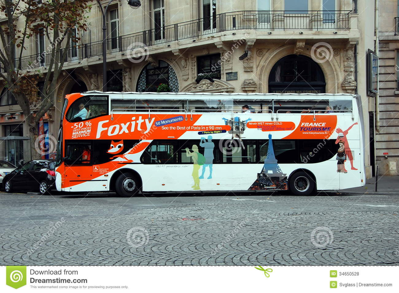 the tour bus in paris france editorial stock photo image 34650528. Black Bedroom Furniture Sets. Home Design Ideas