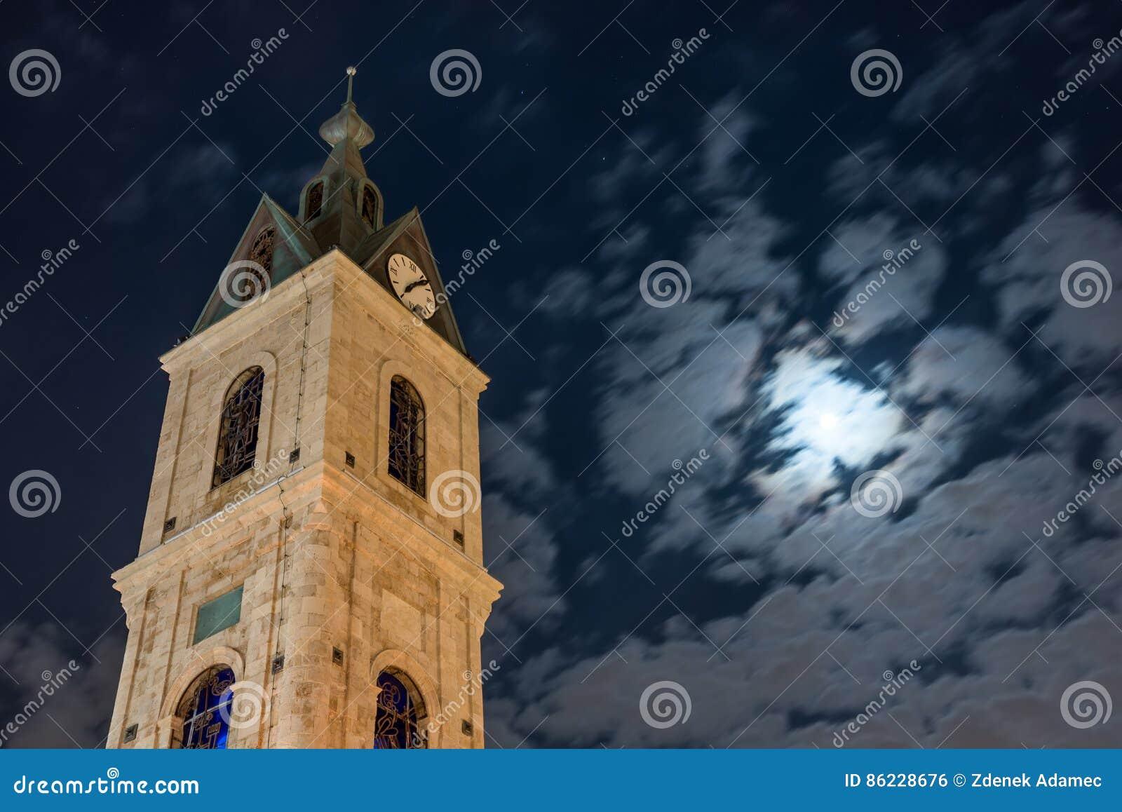 Tour d horloge de Jaffa sous le clair de lune