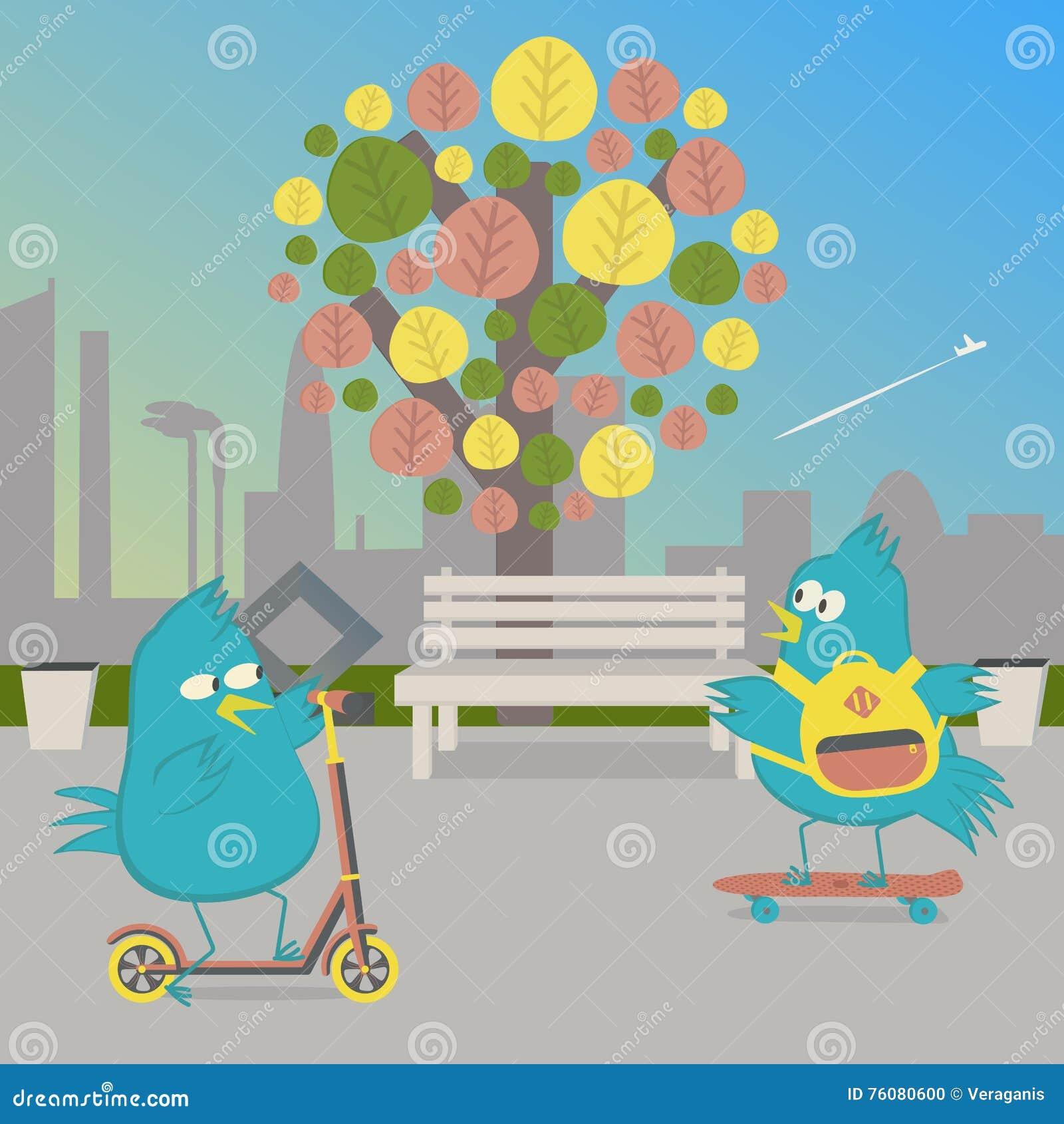 Tour d oiseaux en parc Oiseau sur une planche à roulettes et un oiseau sur le scooter de poussée