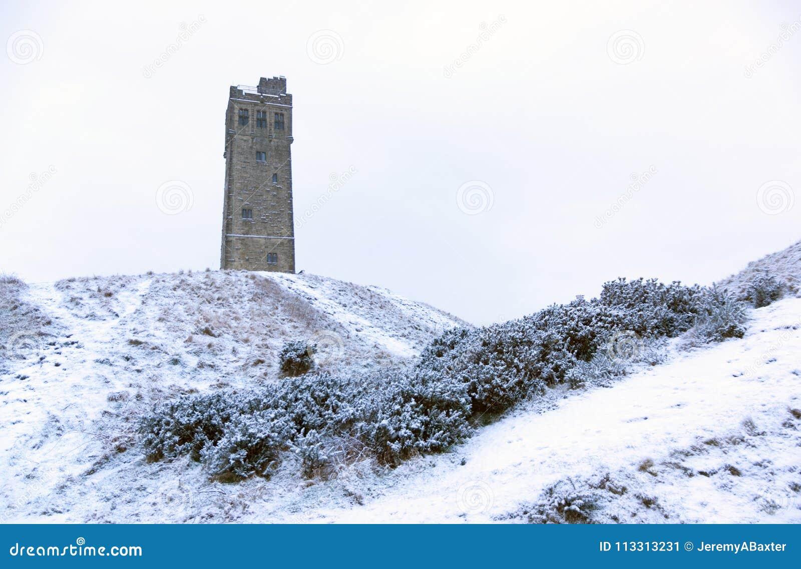 Tour de Victora sur la colline de château à Huddersfield, West Yorkshire, Angleterre