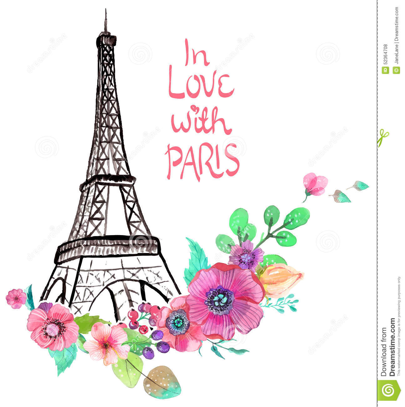 tour eiffel avec des fleurs d 39 aquarelle illustration de vecteur illustration du fond retrait. Black Bedroom Furniture Sets. Home Design Ideas