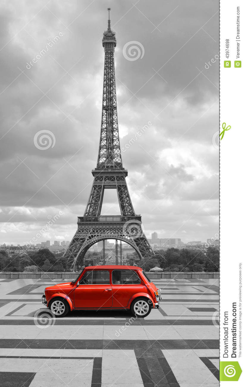 tour eiffel avec la voiture photo noire et blanche avec l 39 l ment rouge illustration stock. Black Bedroom Furniture Sets. Home Design Ideas