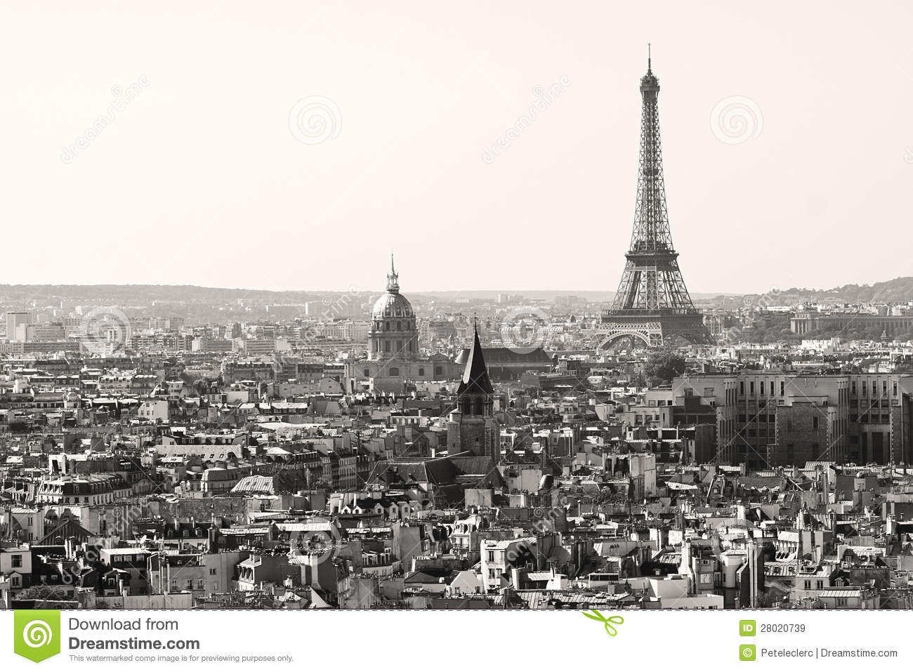 tour eiffel en noir et blanc paris image stock image du europ en architecture 28020739. Black Bedroom Furniture Sets. Home Design Ideas