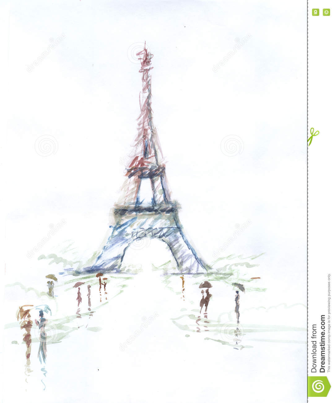 tour eiffel romantic illustration drawing water color paints and