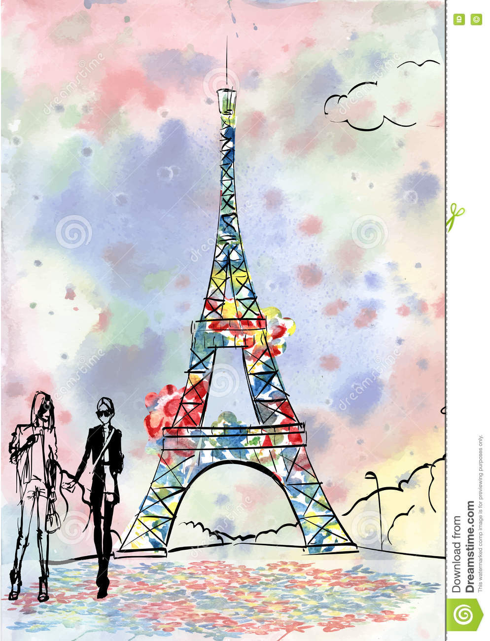 Exceptionnel Tour Eiffel Romantic Illustration Heart Frame Drawing Water Colo  BG13