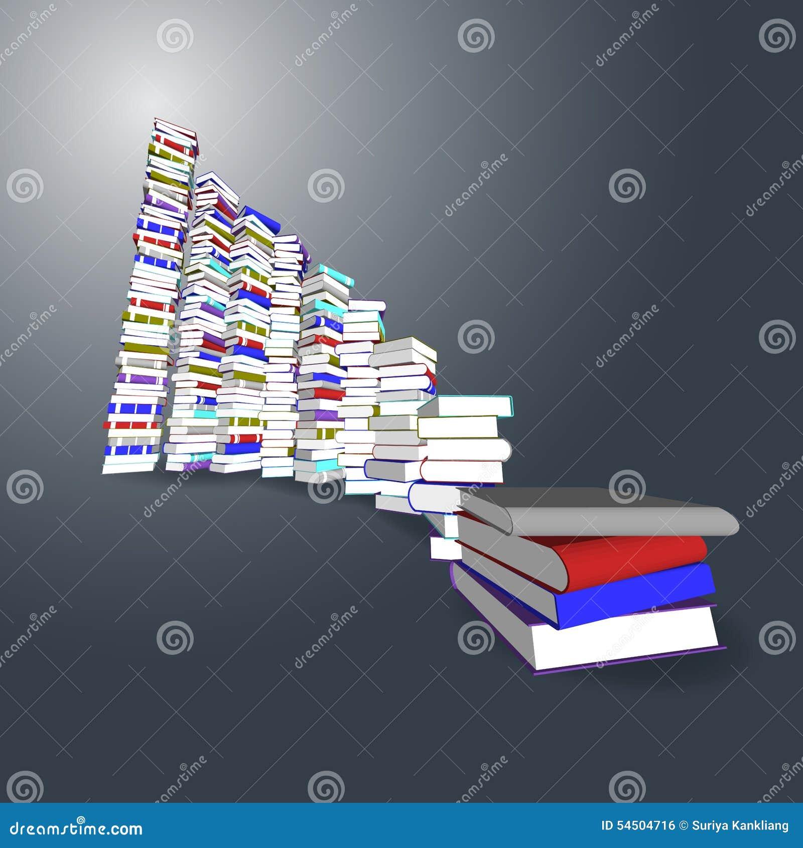 Tour et escalier colorés de livres