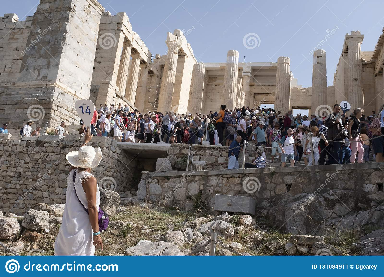 Tour guide at the Acropolis, Atthens, Greece