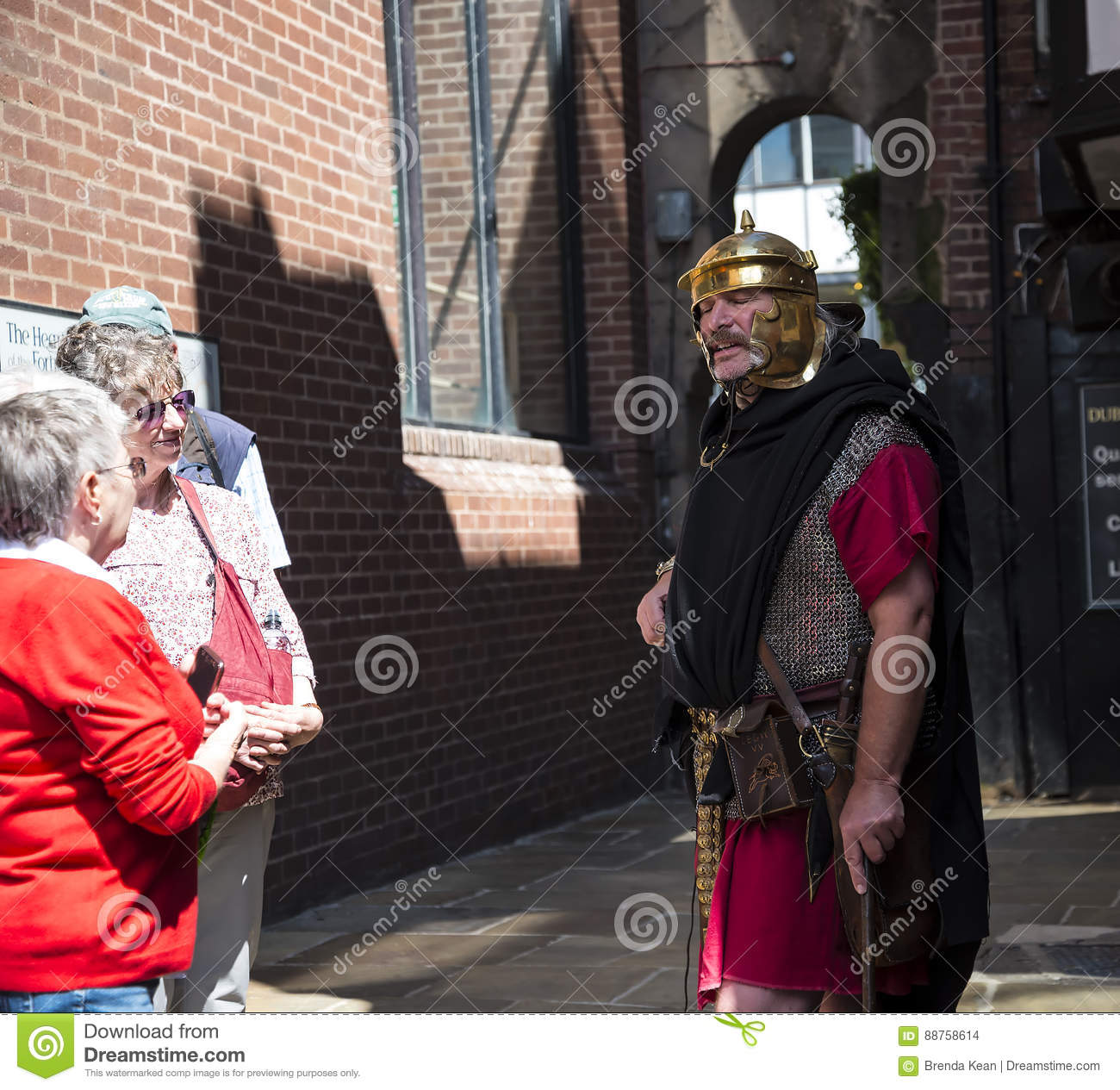 Tour Guide as Roman Soldier in Chester the county city of Cheshire in England