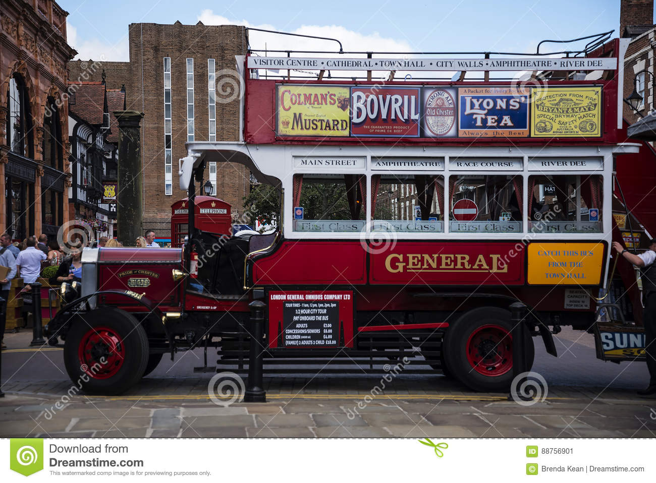 Tour Guide Omnibus in Chester the county city of Cheshire in England