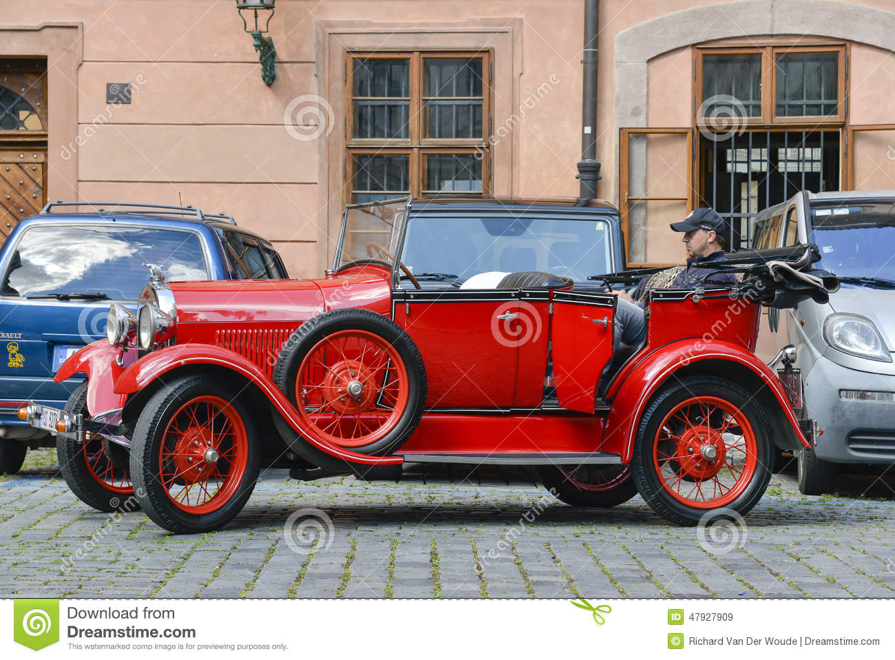 vintage sightseeing tour car in prague editorial photo 75122945. Black Bedroom Furniture Sets. Home Design Ideas