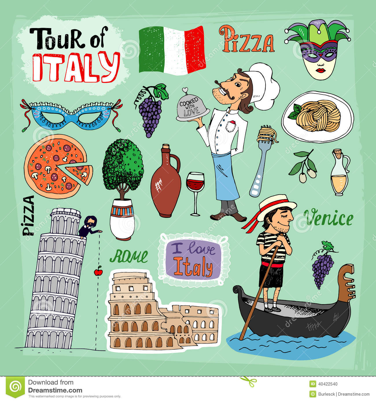 Italy Clipart Travel Clipart The Tower of Pisa Personal /& Commercial Use Rome Clip Art SALE Roman Colosseum Wine Pasta