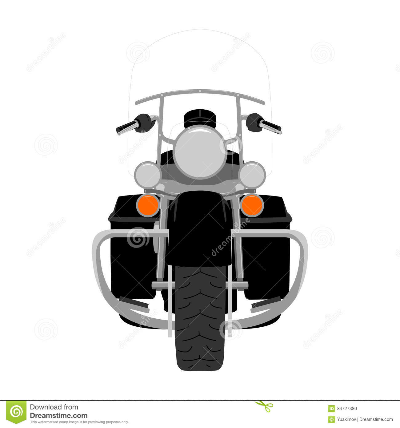 Touring Motorcycle Isolated Vector Illustration Stock Vector