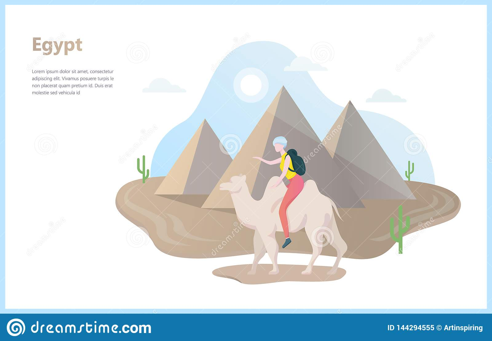 Tourism In Egypt Concept Pyramid And Ancient History Stock Vector Illustration Of Icon Destination 144294555