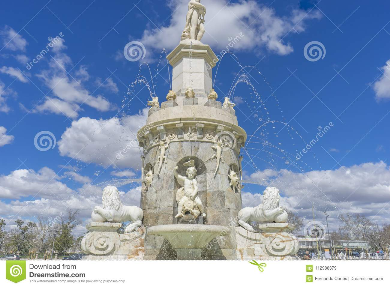 Tourism, Fountain of the Mariblanca in Aranjuez close to the pal