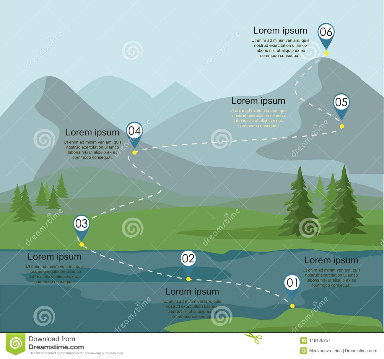 tourism route infographic layers mountain landscape fir forest river tourism route infographic layers mountain 118126257 tourism route infographic layers of mountain landscape with fir