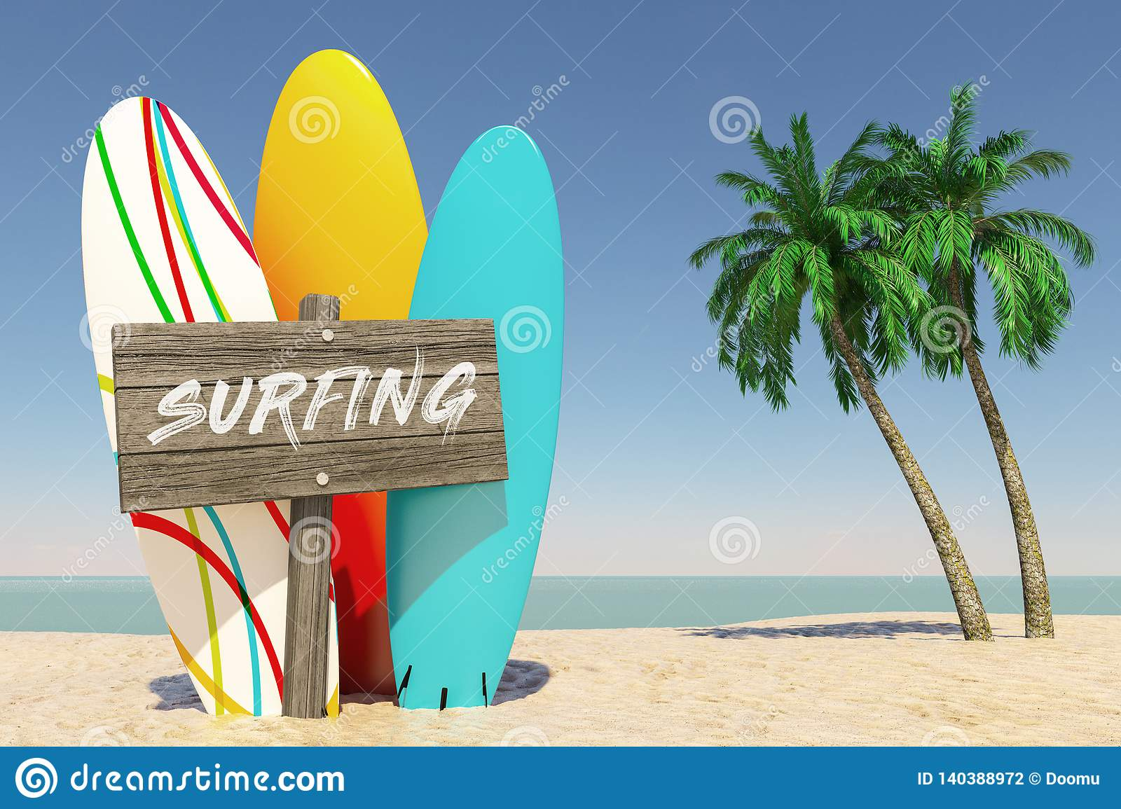 Tourism and Travel Concept. Colorful Summer Surfboards with Surfing Wooden Direction Signbard in Tropical Paradise Beach with