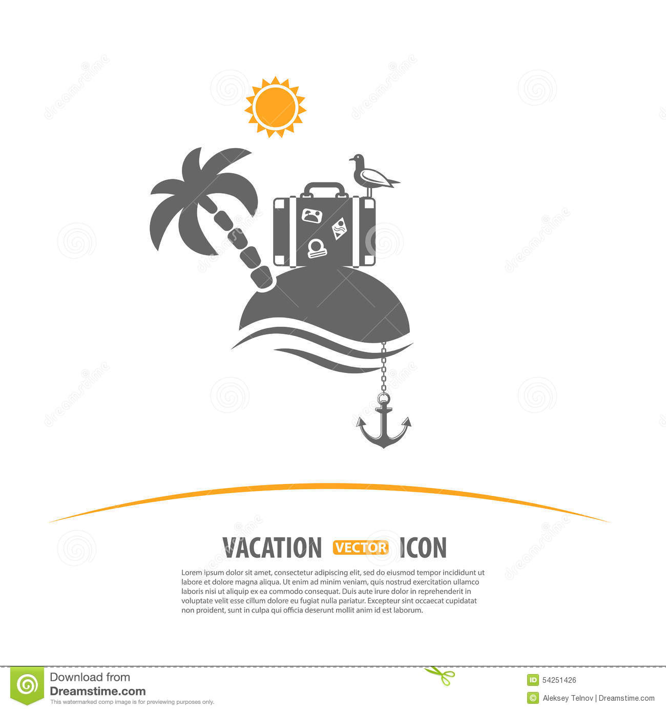 Travel, Tourism and Vacation vector Logo Design Template. Island with ...