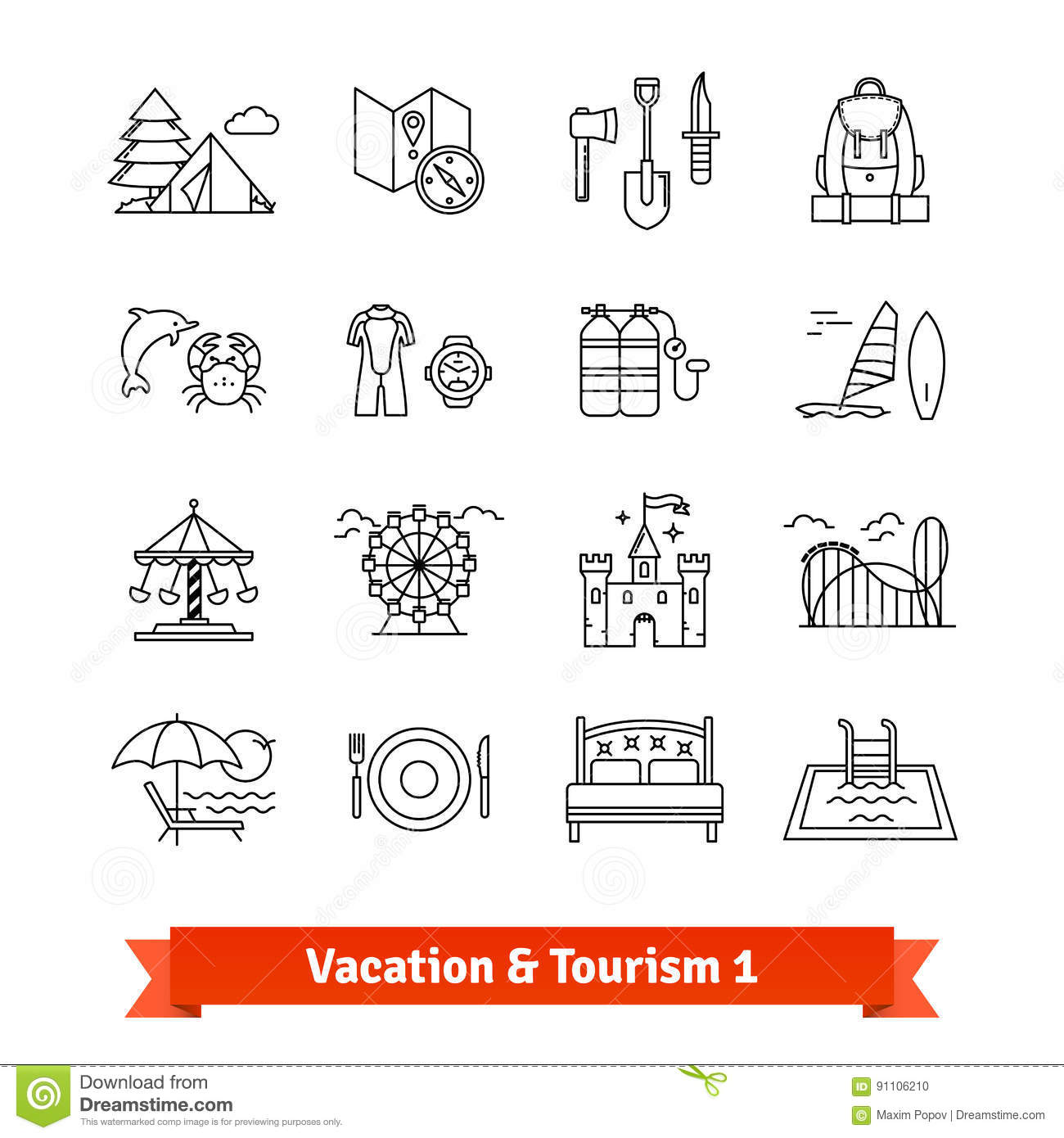 Tourism And Vacation Recovery Thin Line Icons Set Stock Vector