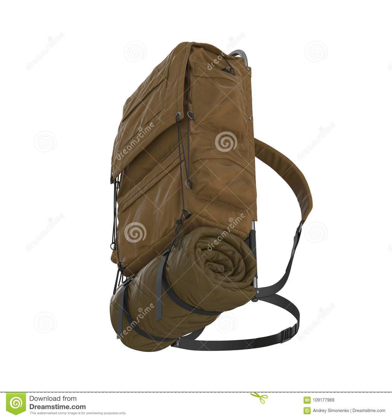 Tourist backpack isolated on a white background. 3D illustration. More  similar stock illustrations 59ab08a67d22a