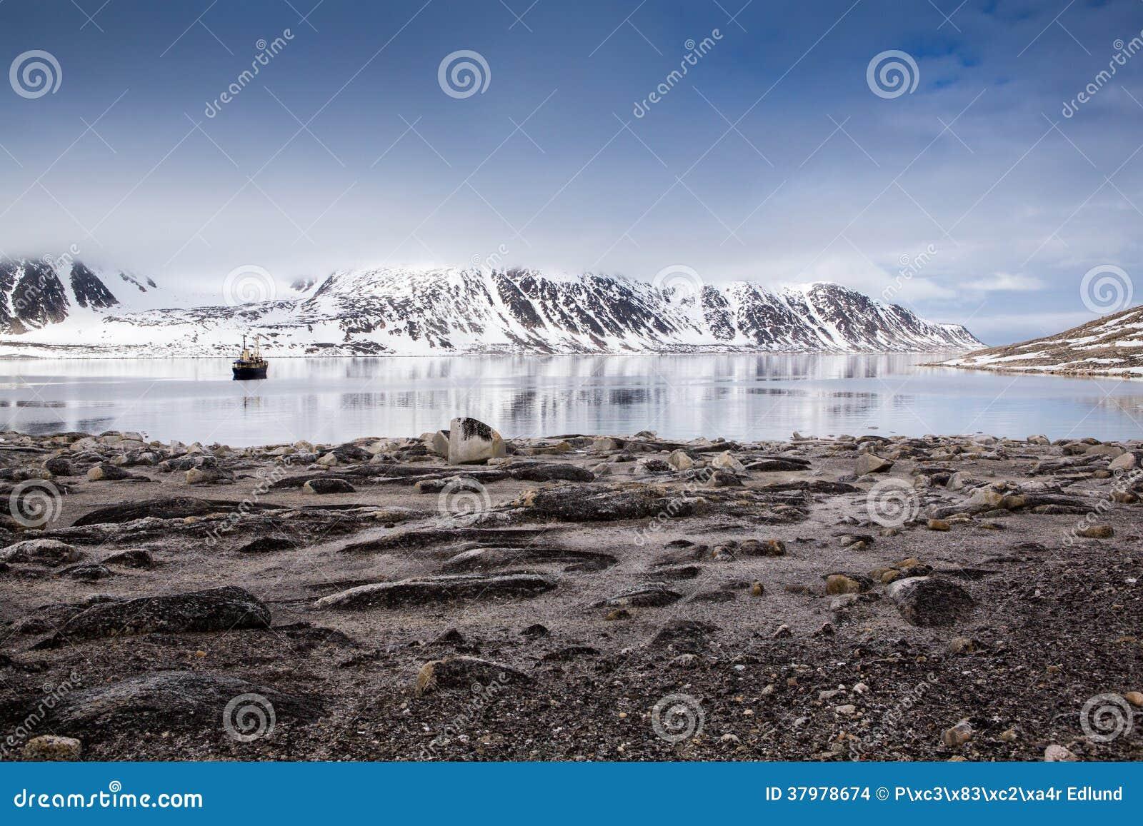 Tourist boat in Spitsbergen.