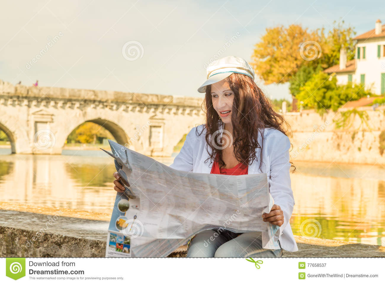 Tourist Consulting Map In Italy Stock Image Image Of Antique