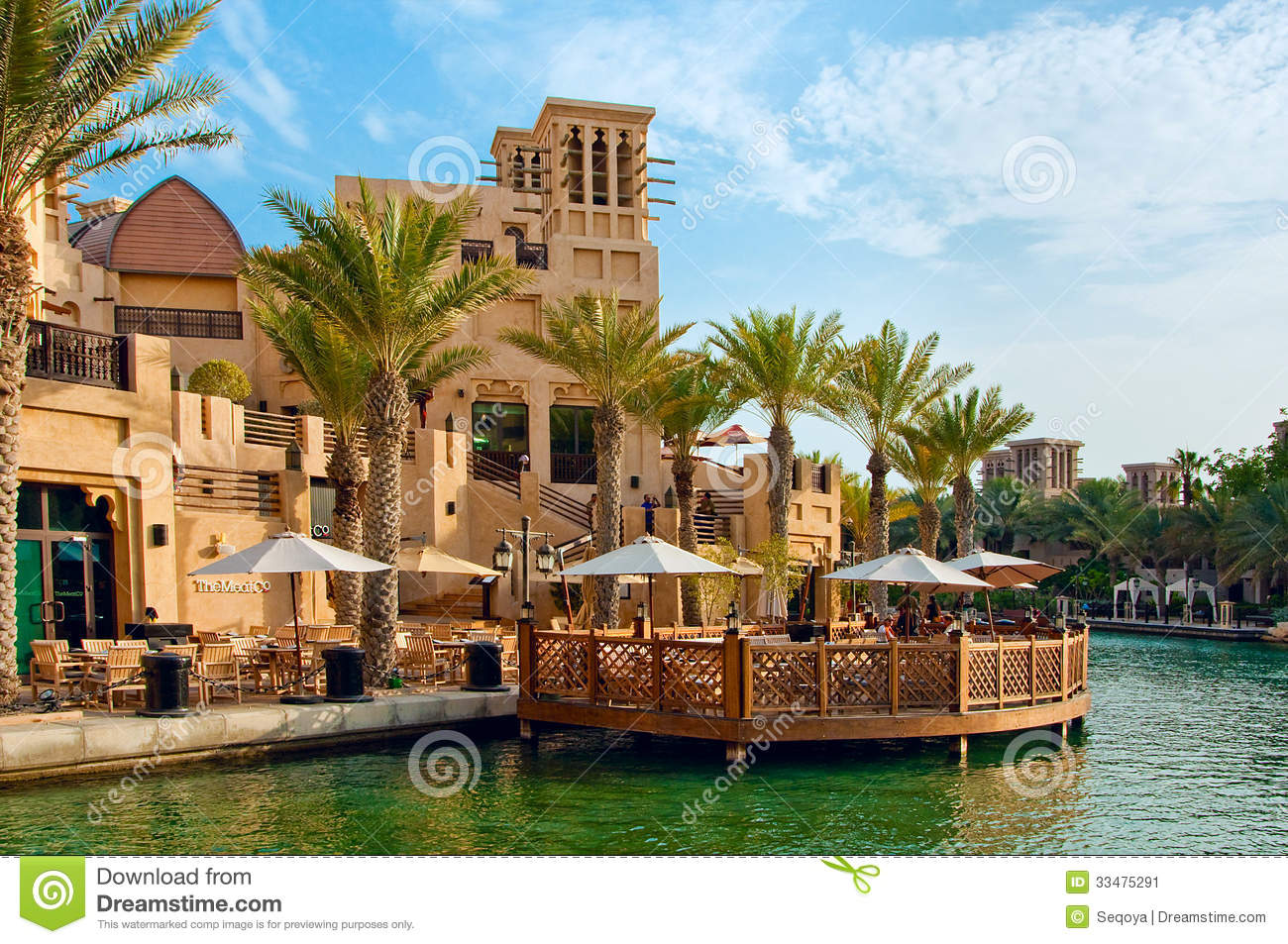 Tourist district of madinat jumeirah editorial photo for Dubai famous hotel