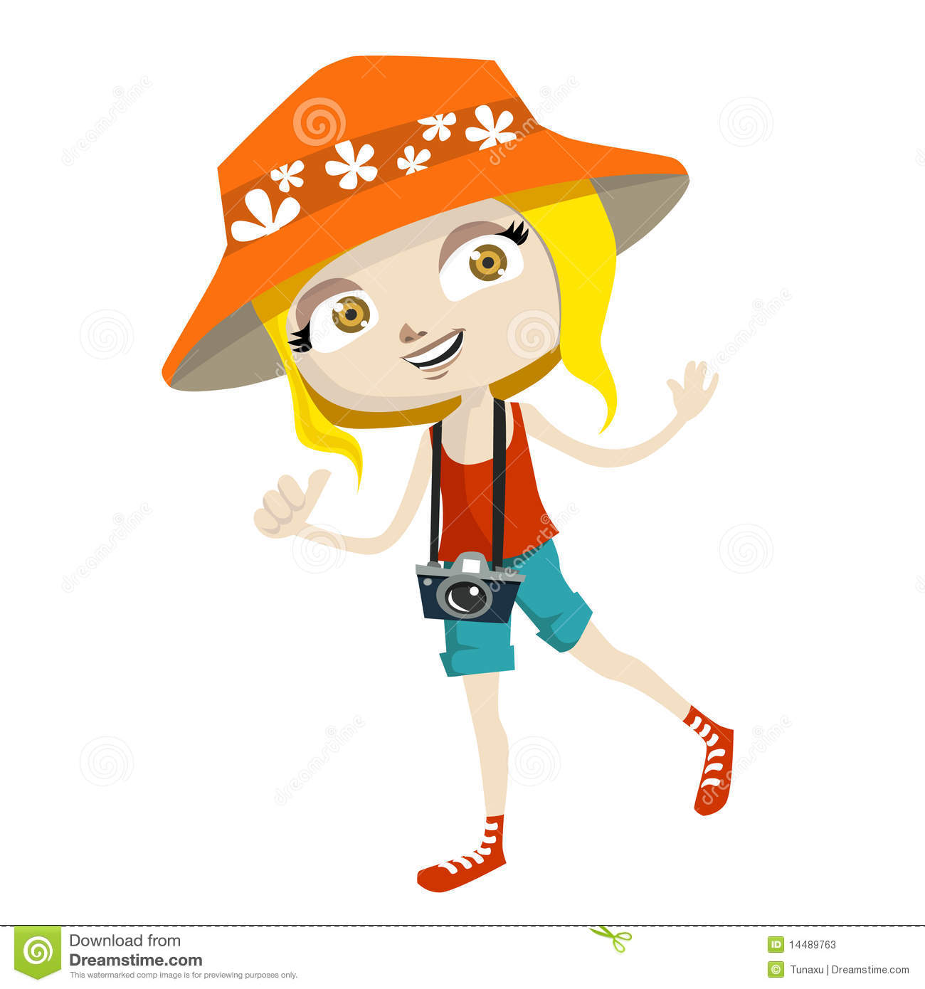 Cartoon style tourist kid illustration vector.