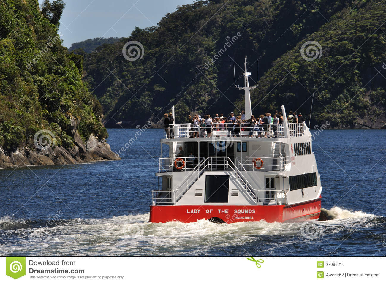 Tourist launch at Milford Sound, New Zealand