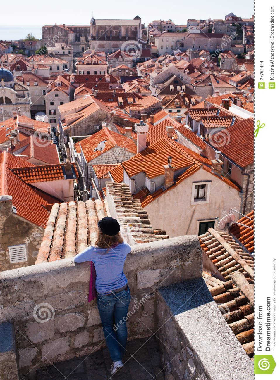 Tourist looking over the roofs