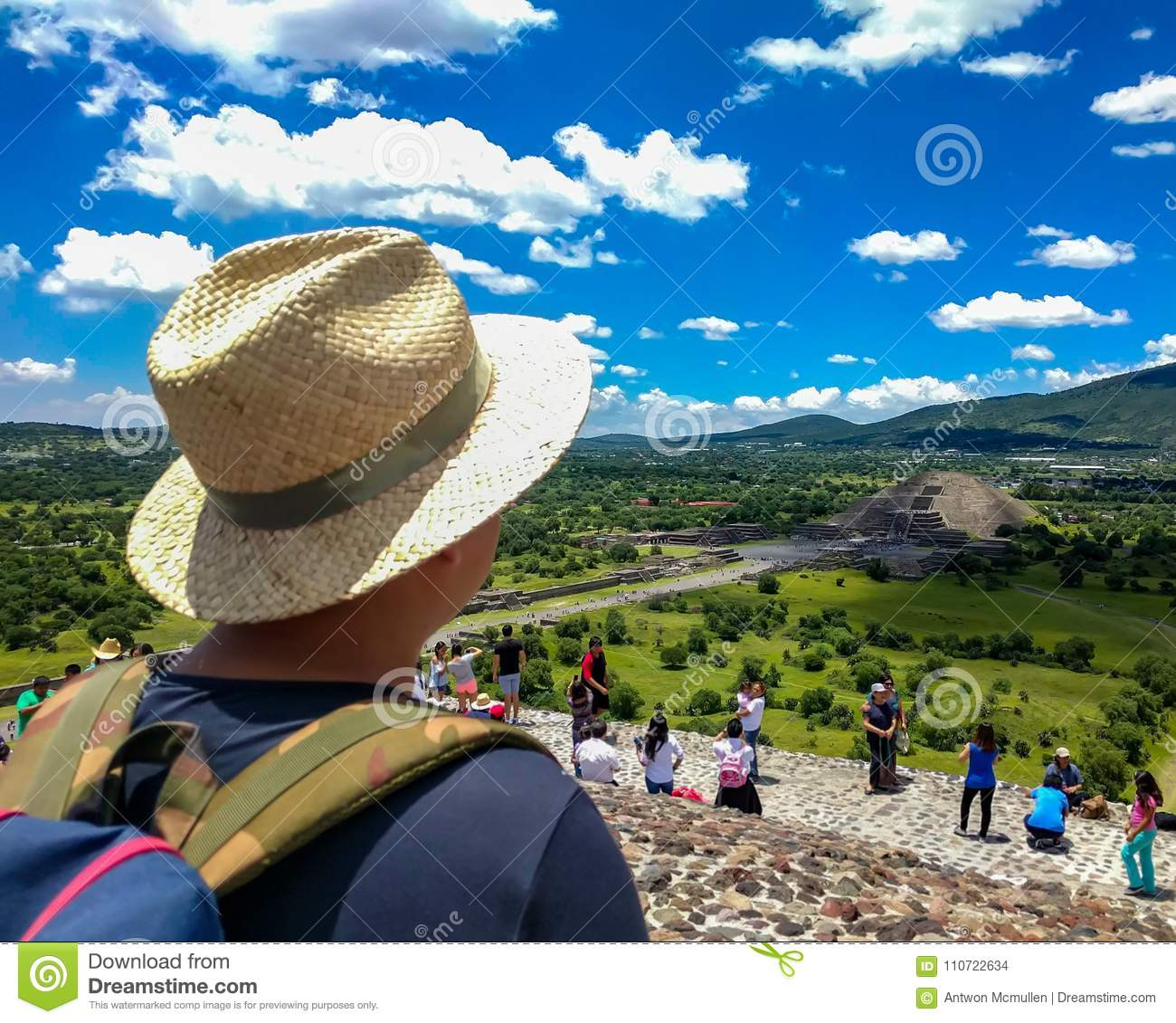 Tourists at Teotihuacan, Mexico. Point of view from top of Pyramid of the Sun.