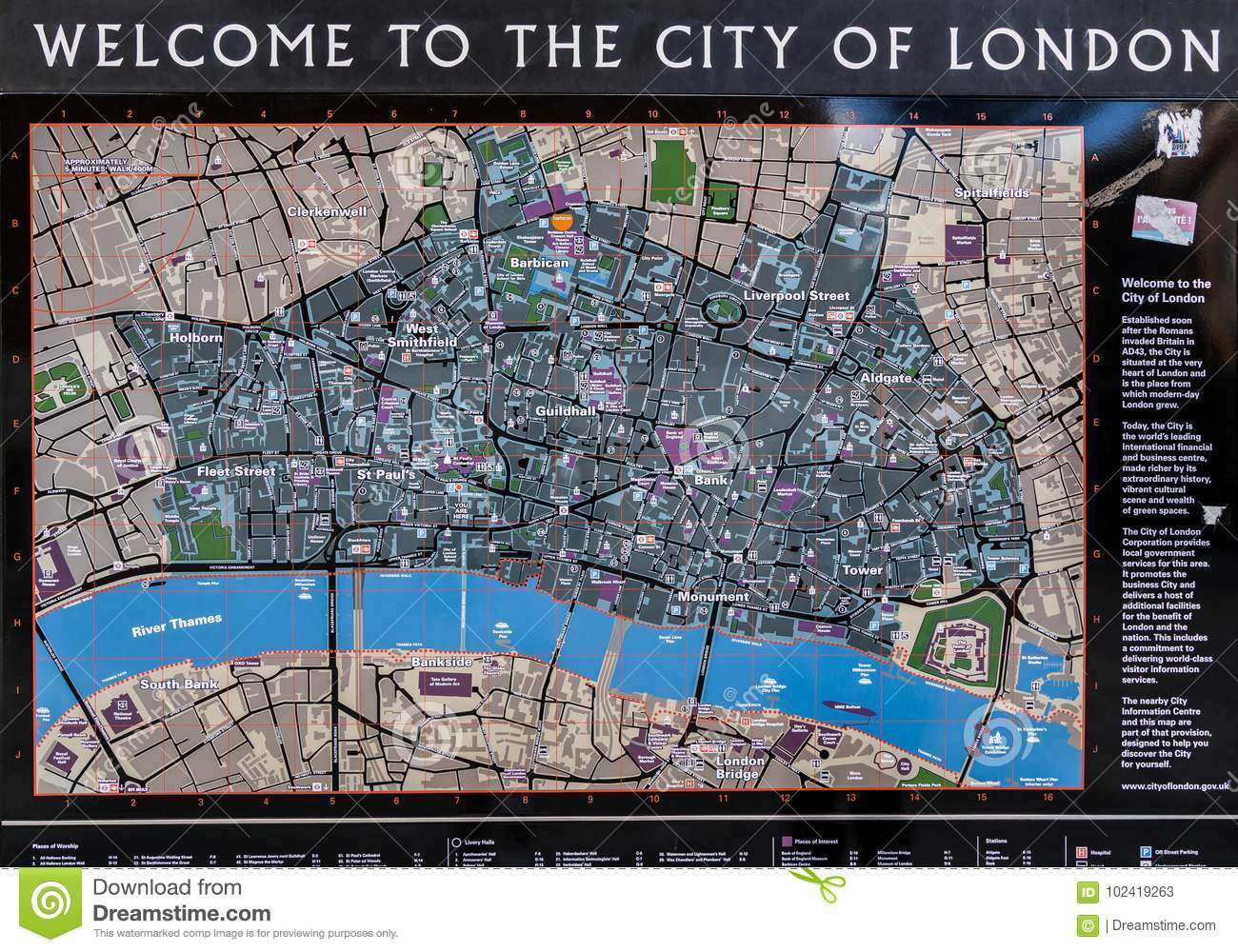 Map Of City Of London.Tourist Map Of The City Of London Editorial Stock Photo Image Of
